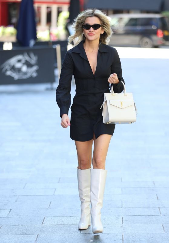 Ashley Roberts in a Thigh-Skimming Blazer Dress and Knee-High Boots - London 07/21/2020