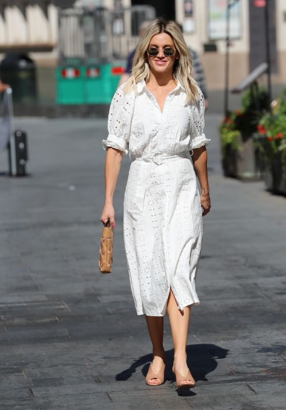 Ashley Roberts in a White Broderie Anglaise Dress - London 07/20/2020