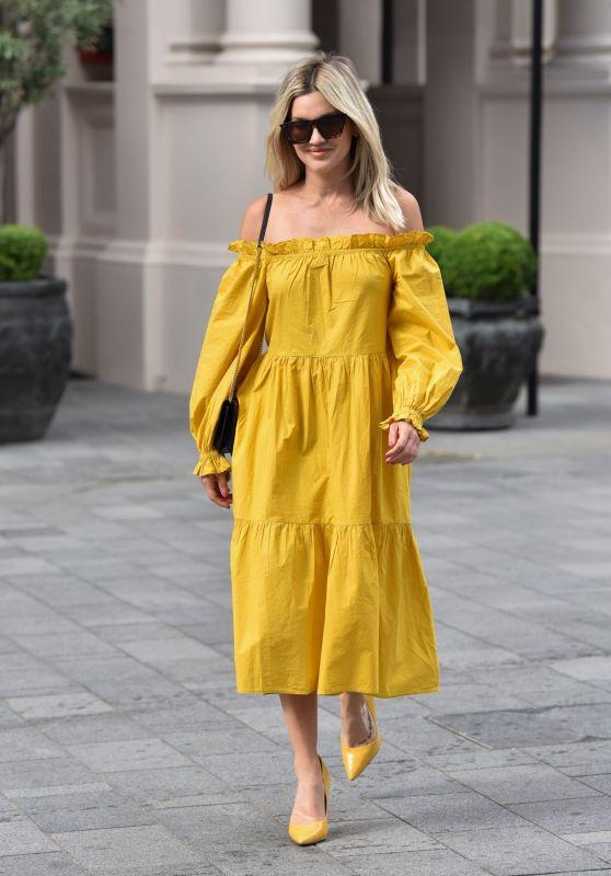 Ashley Roberts in Mustard Yellow River Island Dress - London 07/28/2020