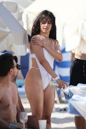 Camila Cabello in a White Swimsuit on the Beach in Miami 07/29/2020