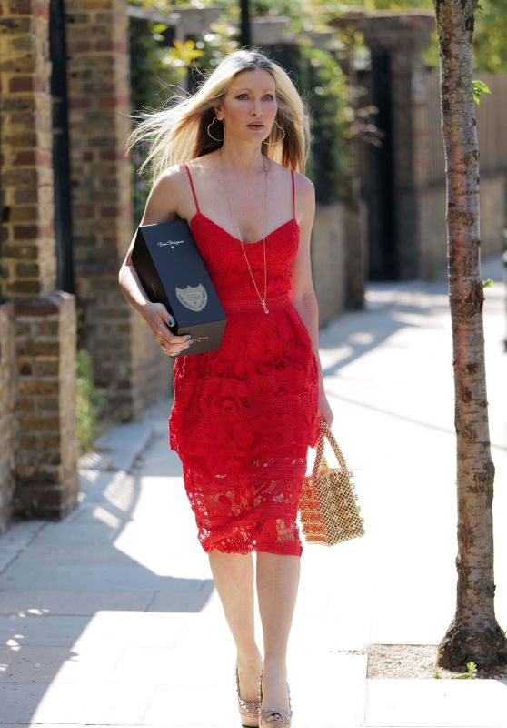 Caprice Bourret in a Red Dress - Notting Hill 06/26/2020