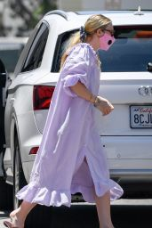 Dakota Fanning in Flowy Lilac Dress - LA 07/06/2020