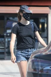 Emmy Rossum Leggy in Jeans Shorts - Shopping at Snyder Diamond in Santa Monica 07/03/2020
