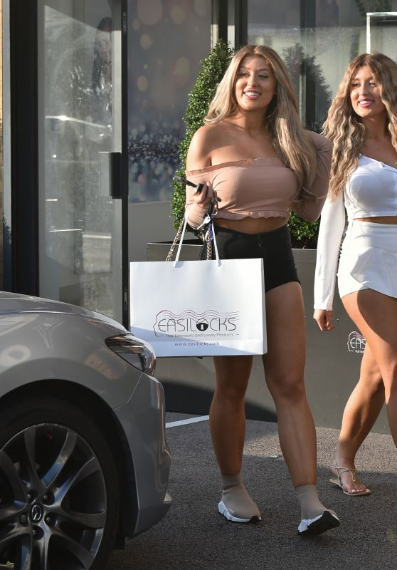 Eve Gale and Jess Gale - Leaving Easilocks Hair Salon in Brentwood 07/04/2020