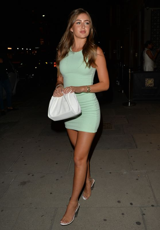 Georgia Steel in Mint Green Ribbed Mini Dress - London 07/18/2020