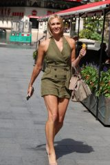 Jenni Faulkner in Khaki Playsuit - Exits Smooth Radio in London 07/10/2020