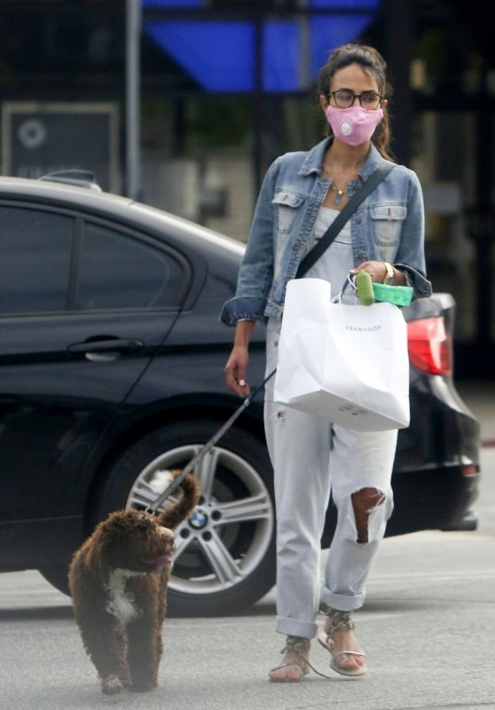 Jordana Brewster - Walks Her Dog in Brentwood 06/30/2020
