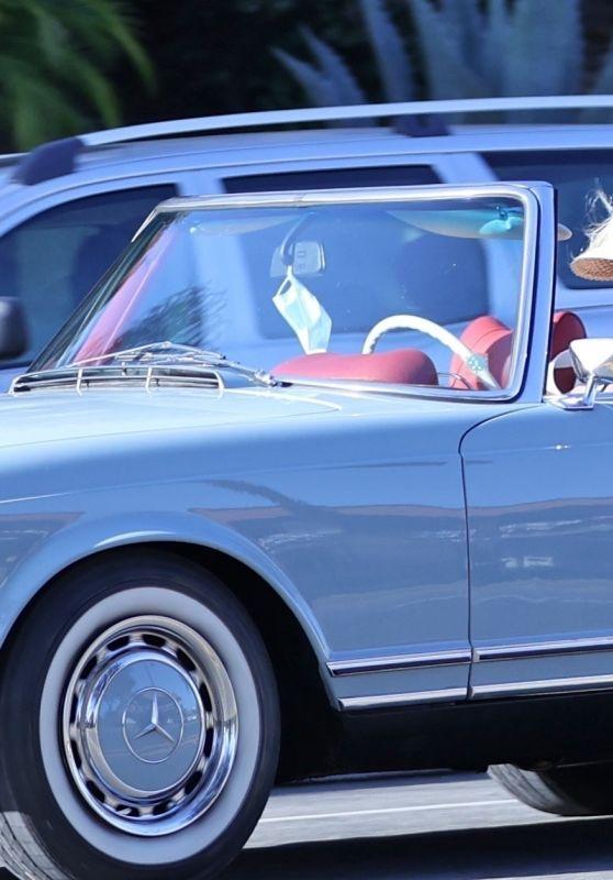 Katy Perry - Drives Her Vintage Baby Blue Mercedes Convertible Around Santa Barbara 07/19/2020