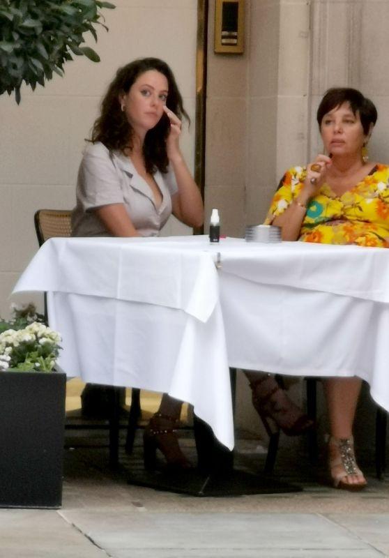 Kaya Scodelario in an Elegant Grey Blouse - Dining in London 07/26/2020
