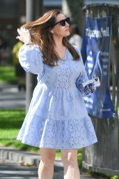 Kelly Brook in a Baby Blue Patterned Mini Dress - London 07/20/2020