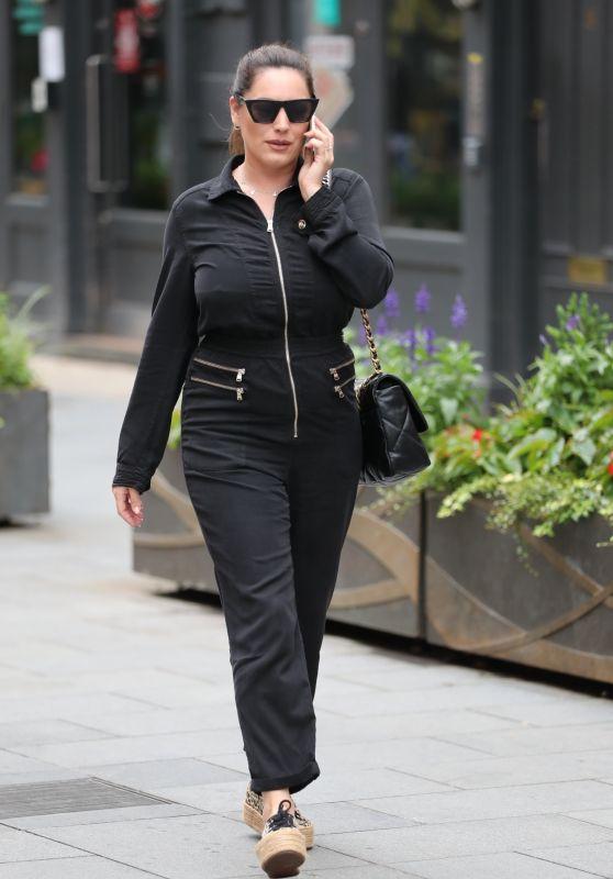 Kelly Brook in Black Boiler Suit in London 07/15/2020