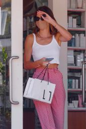 Kendall Jenner in a Pair of Red Gingham Print Pants and a Crop Top - Malibu 07/29/2020
