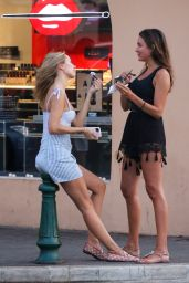 Kimberley Garner in Check Mini Skirt and Bustier Top - Eating Ice Cream in Saint-Tropez 07/29/2020