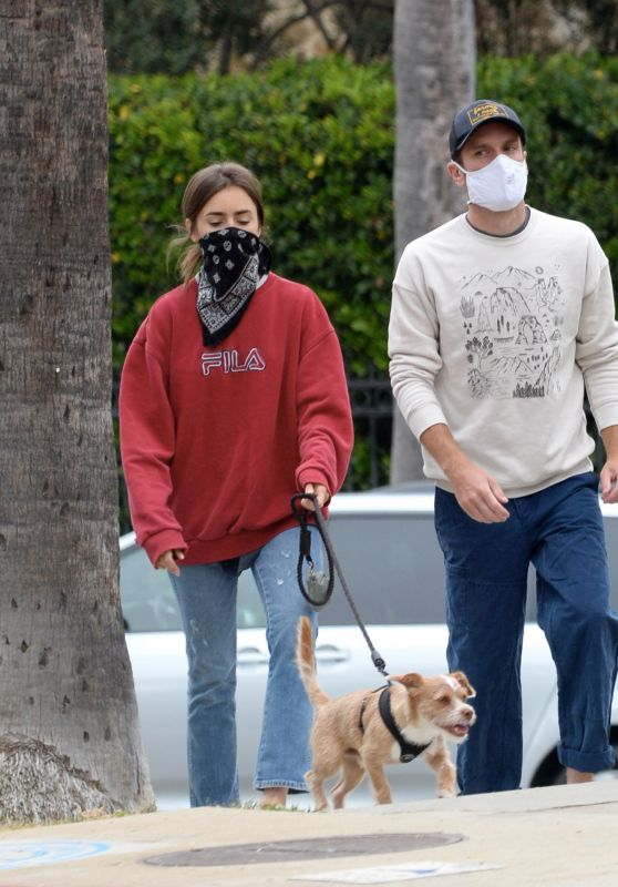 Lily Collins - Walking Her Dog in LA 07/22/2020