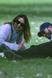 Lily James and Chris Evans Eating Ice Cream - London 07/08/2020