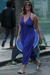 Lucy Horobin in Plunging Blue Jumpsuit - Leaving Heart Radio in London 07/06/2020