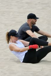 Maria Sharapova - Grueling Workout on the Beach in LA 07/29/2020