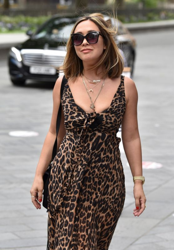 Myleene Klass in a Plunging Leopard Print Maxi Dress - Smooth FM in London 07/06/2020
