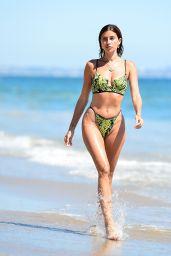 Nicole Williams in a Neon Green Snakeskin Bikini - Malibu Beach 07/26/2020