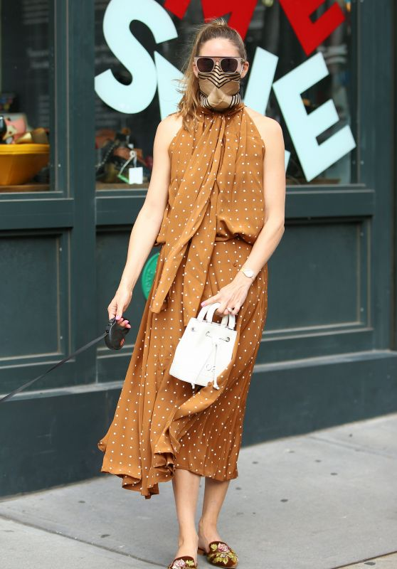 Olivia Palermo - Walking Her Dog in NYC 07/23/2020