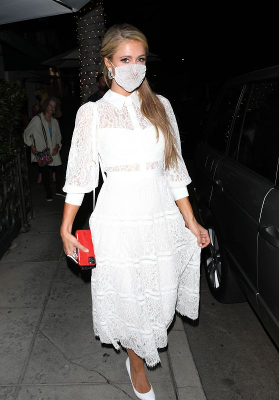 Paris Hilton in a White Dress - Madeo Restaurant in Beverly Hills 06/30/2020