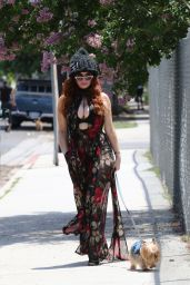 Phoebe Price - Walking Her Dog Henry in Los Angeles 06/30/2020