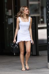 Pixie Lott in a Tiny White Mini Dress in London 07/26/2020