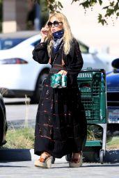 Rachel Zoe in a Black Maxi Dress and Wedge Espadrilles Sandals 07/08/2020