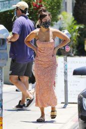 Vanessa Hudgens in Orange Dress - Los Angeles 07/03/2020