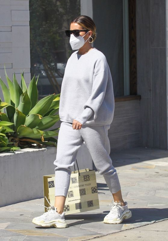 Ashley Tisdale in All Gray Ensemble - Shopping in Beverly Hills 08/05/2020
