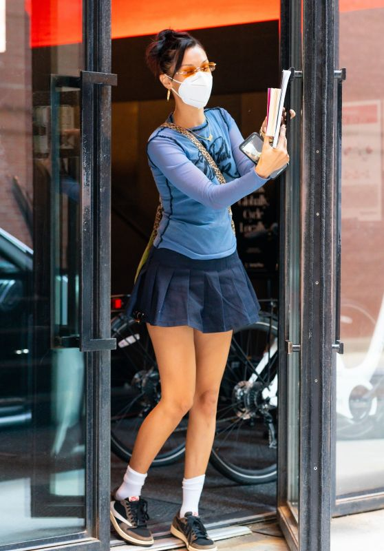 Bella Hadid in a Mini Skirt Out in New York 07/30/2020