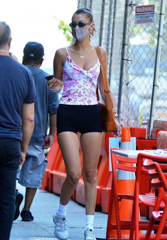 Bella Hadid Leggy in Shorts - New York 08/24/2020