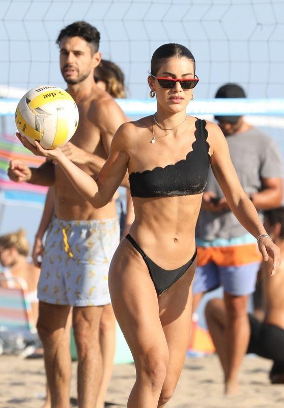 Camila Coelho in a Black Asymmetrical Bikini in Malibu 08/15/2020