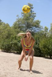 Caprice Bourret in a Swimsuit Playing Volleyball on the Beach in Ibiza 08/03/2020