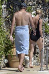 Caroline Wozniacki in a Swimsuit by the Pool in Portofino 08/10/2020