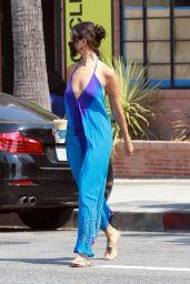 Eiza Gonzalez in Flowing Tie-Dye Blue Jumpsuit at Alfred in LA 08/19/2020