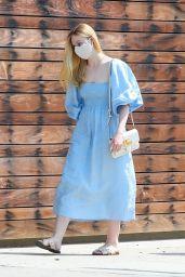 Elle Fanning in a Puff-Sleeved Midi Dress- LA 08/20/2020