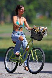 Emily Ratajkowski Bike Riding in a Bikini Top in the Hamptons 08/05/2020