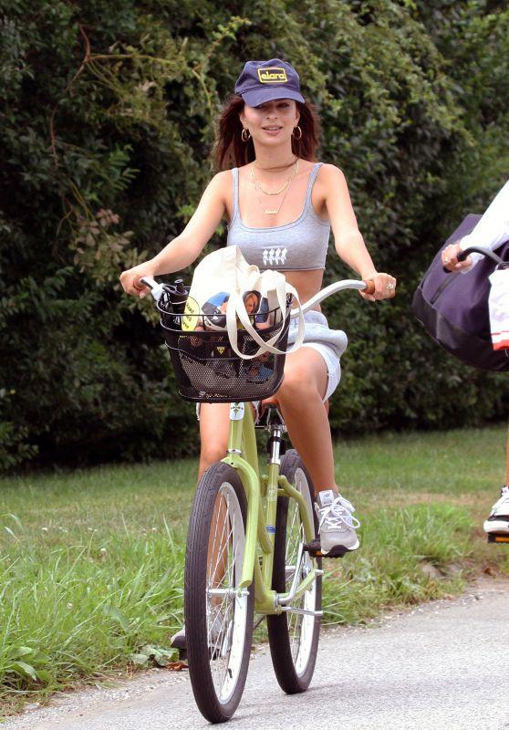 Emily Ratajkowski - Rides a Cruiser Bike in the Hamptons 08/11/2020