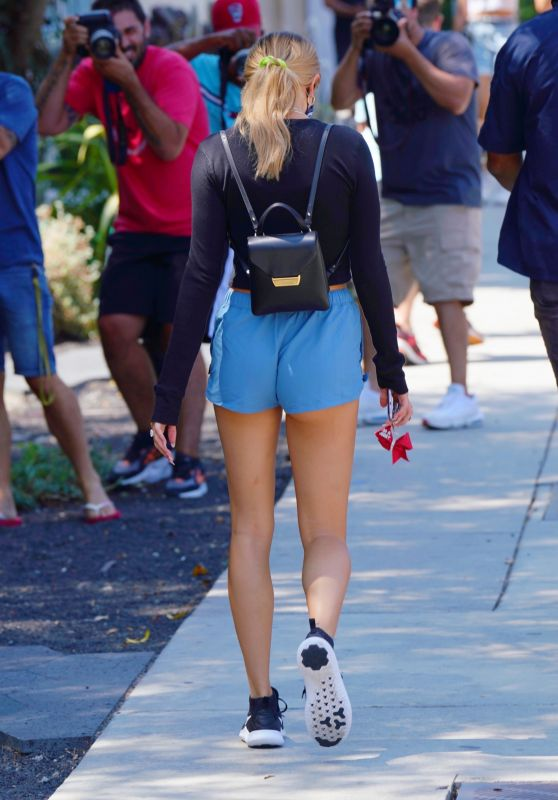 Hailey Bieber Leggy in Shorts - West Hollywood 08/25/2020