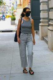 Katie Holmes in a Grey Ensemble - NYC 08/25/2020