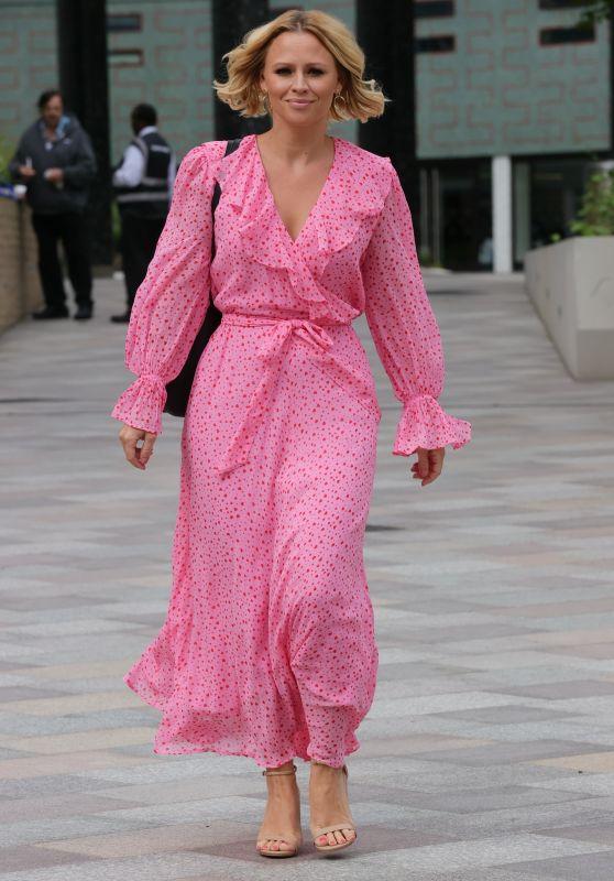Kimberley Walsh in Heart Patterned Summer Dress in London 08/23/2020