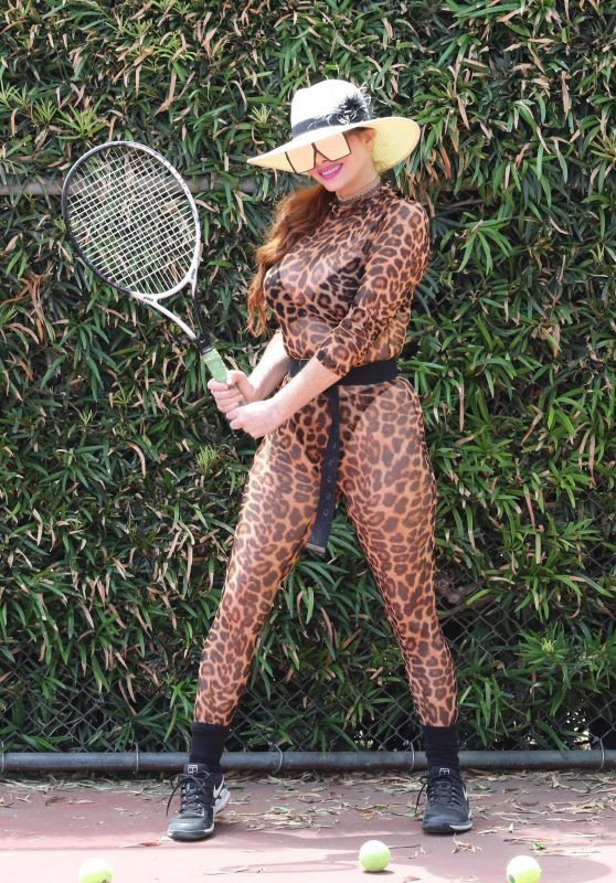 Phoebe Price in an Animal Print - Exercising at the Tennis Court in LA 08/06/2020