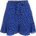 Quiz Royal Blue Polka Dot Frill Shorts