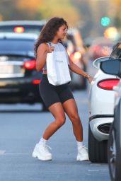 Vanessa Hudgens in Crop Top and Bike Shorts - LA 08/28/2020