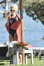 Victoria Silvstedt in a Black Swimsuit - Luxury Hotel Cala di Volpe in Porto Cervo 08/19/2020
