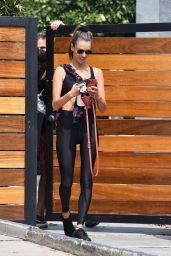 Alessandra Ambrosio in Black Sports Bra and Matching Leggings - LA 09/14/2020