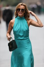 Amanda Holden in a Blue Dress at Heart Radio in London 09/21/2020