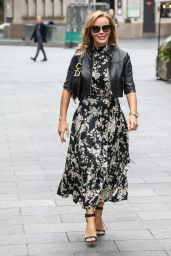 Amanda Holden in a Floral Monochrome Dress - London 09/03/2020