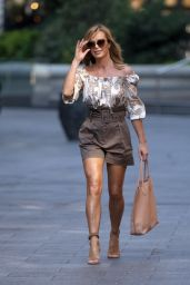 Amanda Holden in Cream Patterned Top and Belted Shorts - London 09/14/2020
